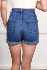 HUSH High rise rolled cuff denim shorts