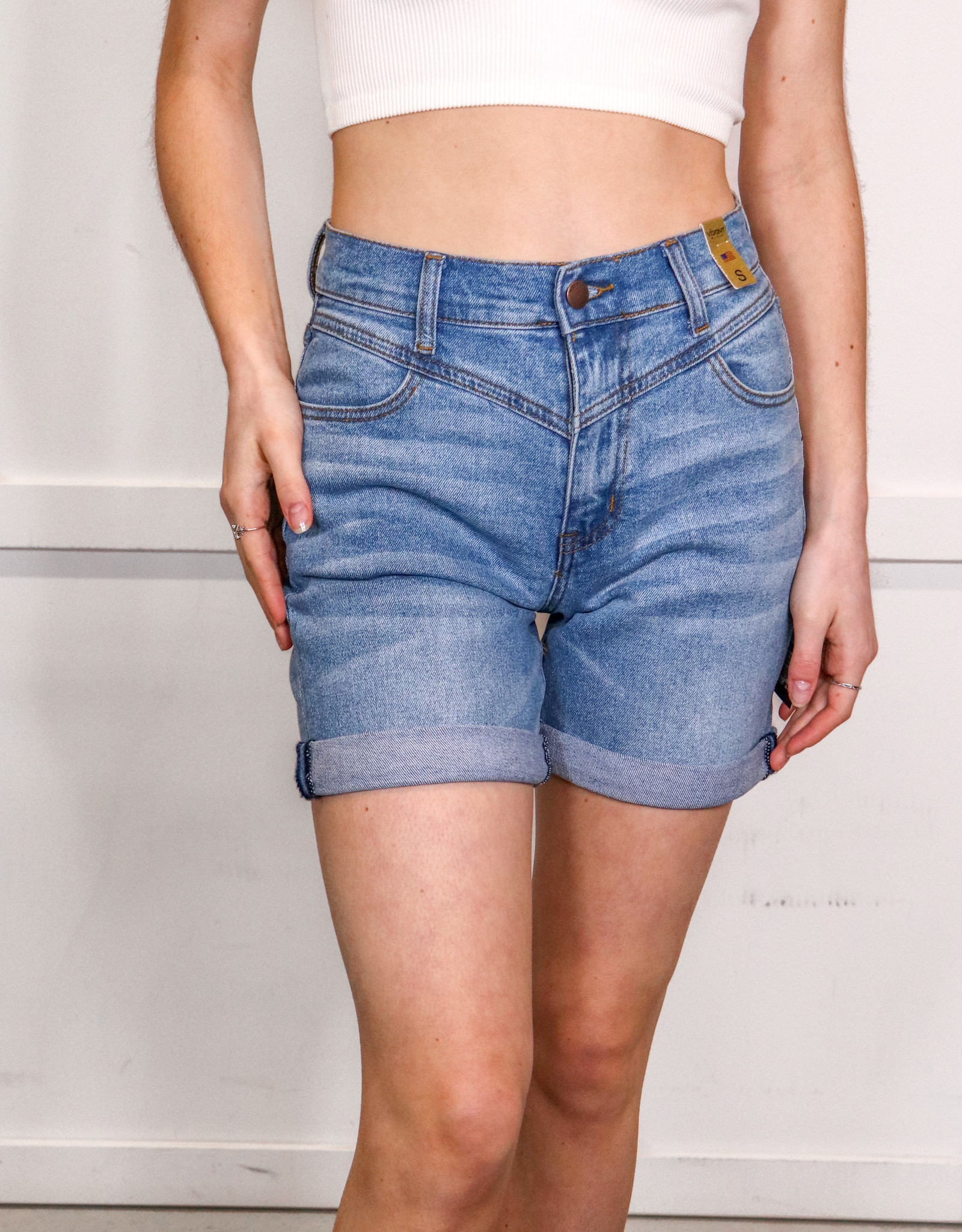 HUSH High rise cuffed v stitch denim shorts