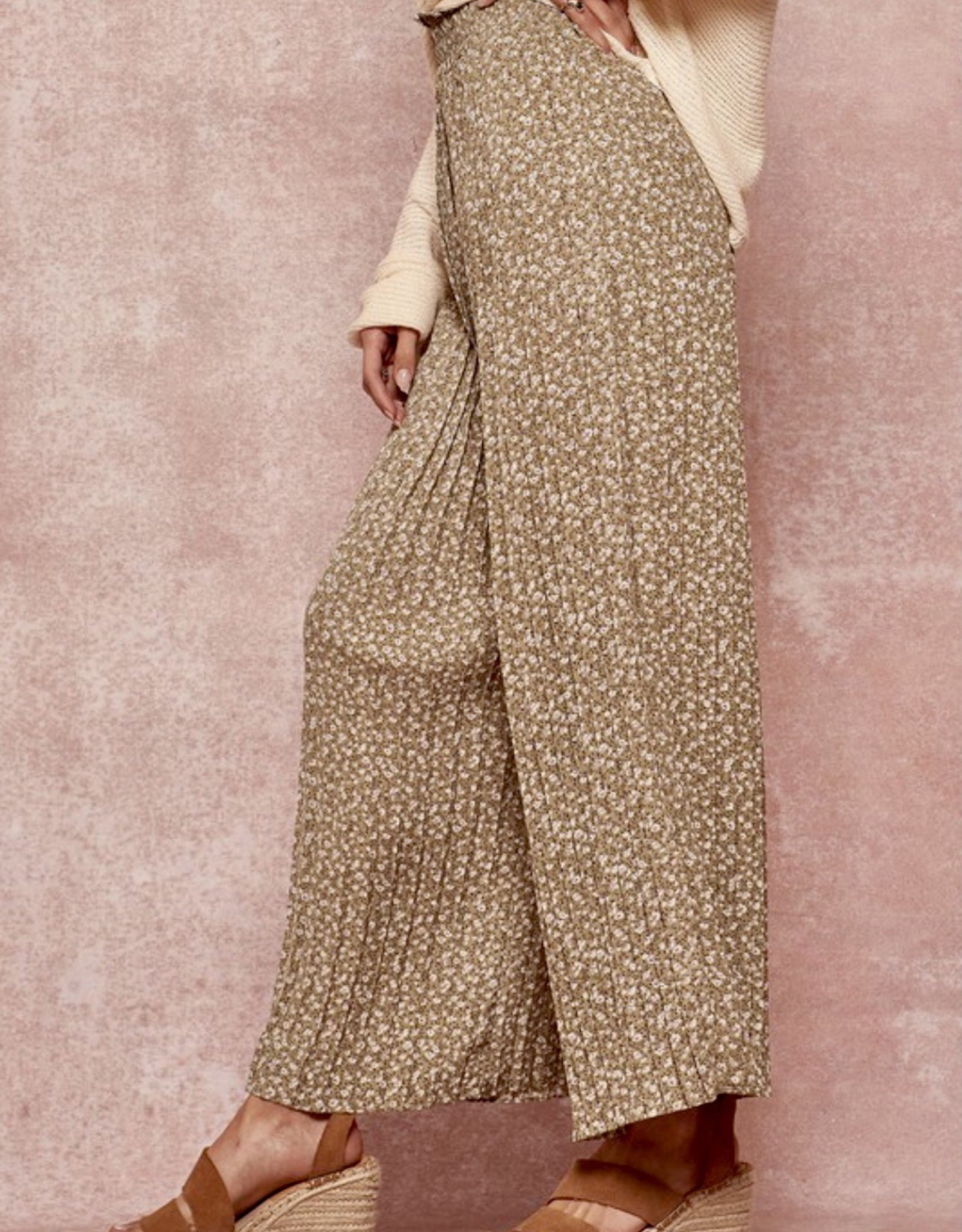 HUSH Accordian pleated wide leg printed pants