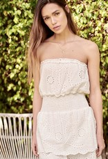 HUSH Eyelet ruffle strapless mini dress