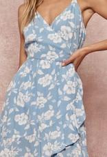 HUSH Spaghetti strap floral print knee length dress