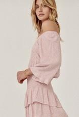 HUSH Off shoulder print smocked btm dress