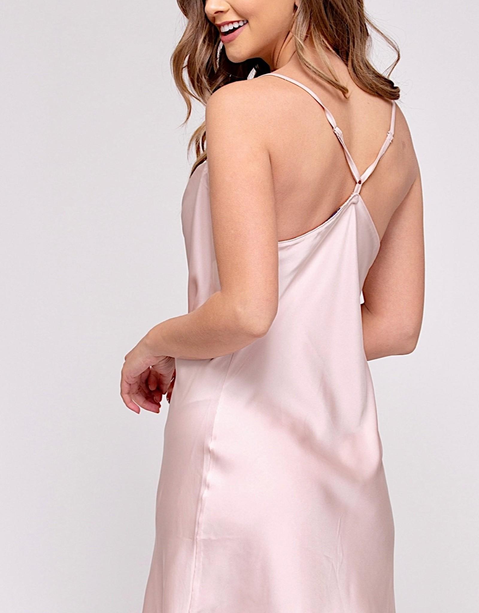 HUSH Satin cowl neck mini dress