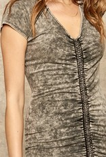 HUSH Acid wash ruched fitted tshirt dress