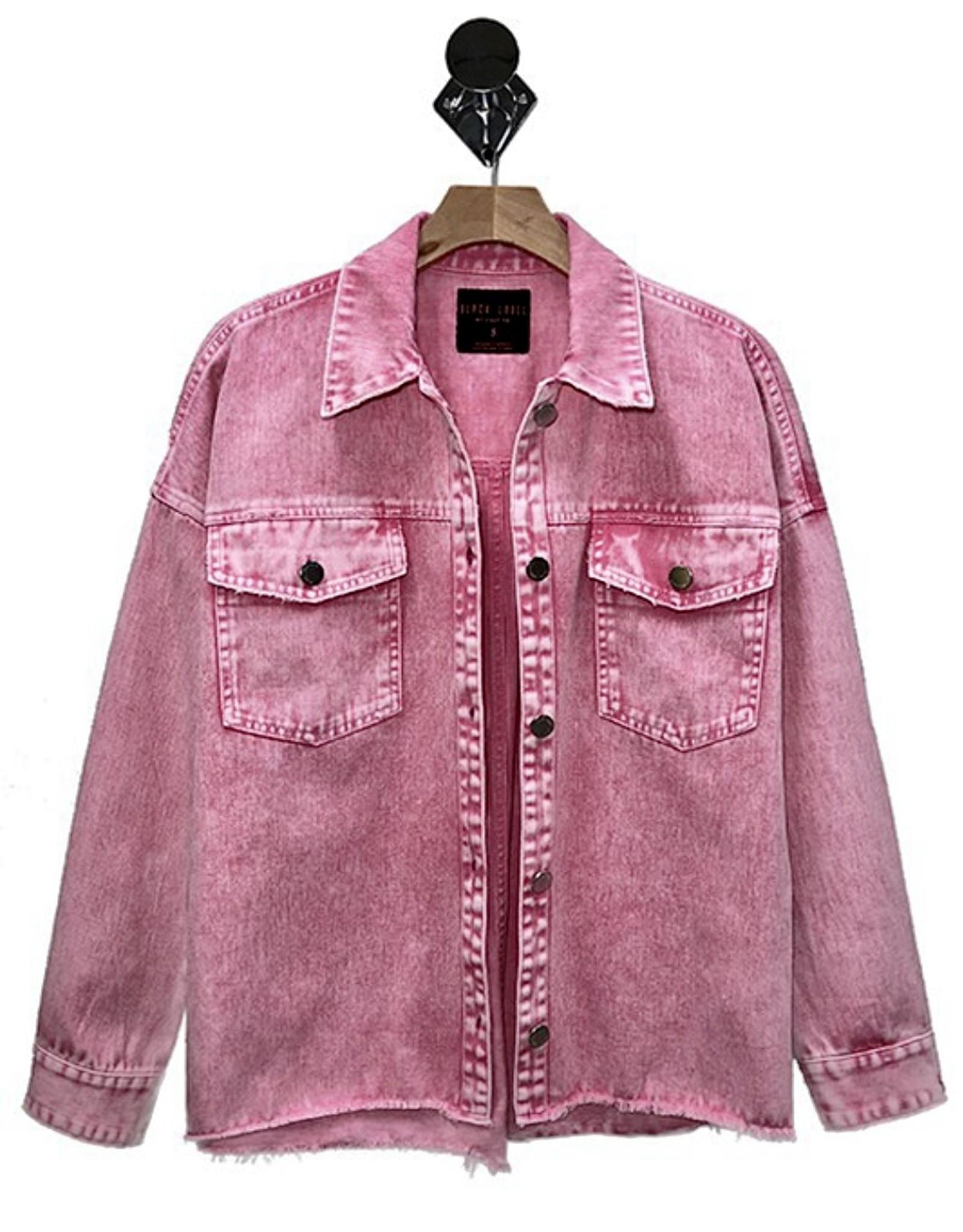 HUSH Coloured acid wash denim jacket