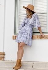 HUSH Chiffon abstract print smocked waist dress