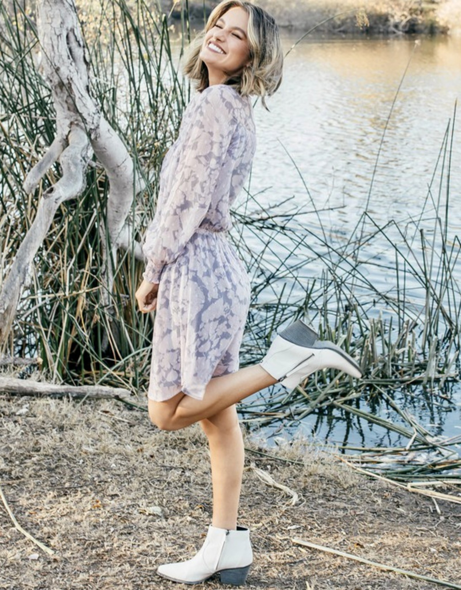 HUSH L/S floral print chiffon knee length dress