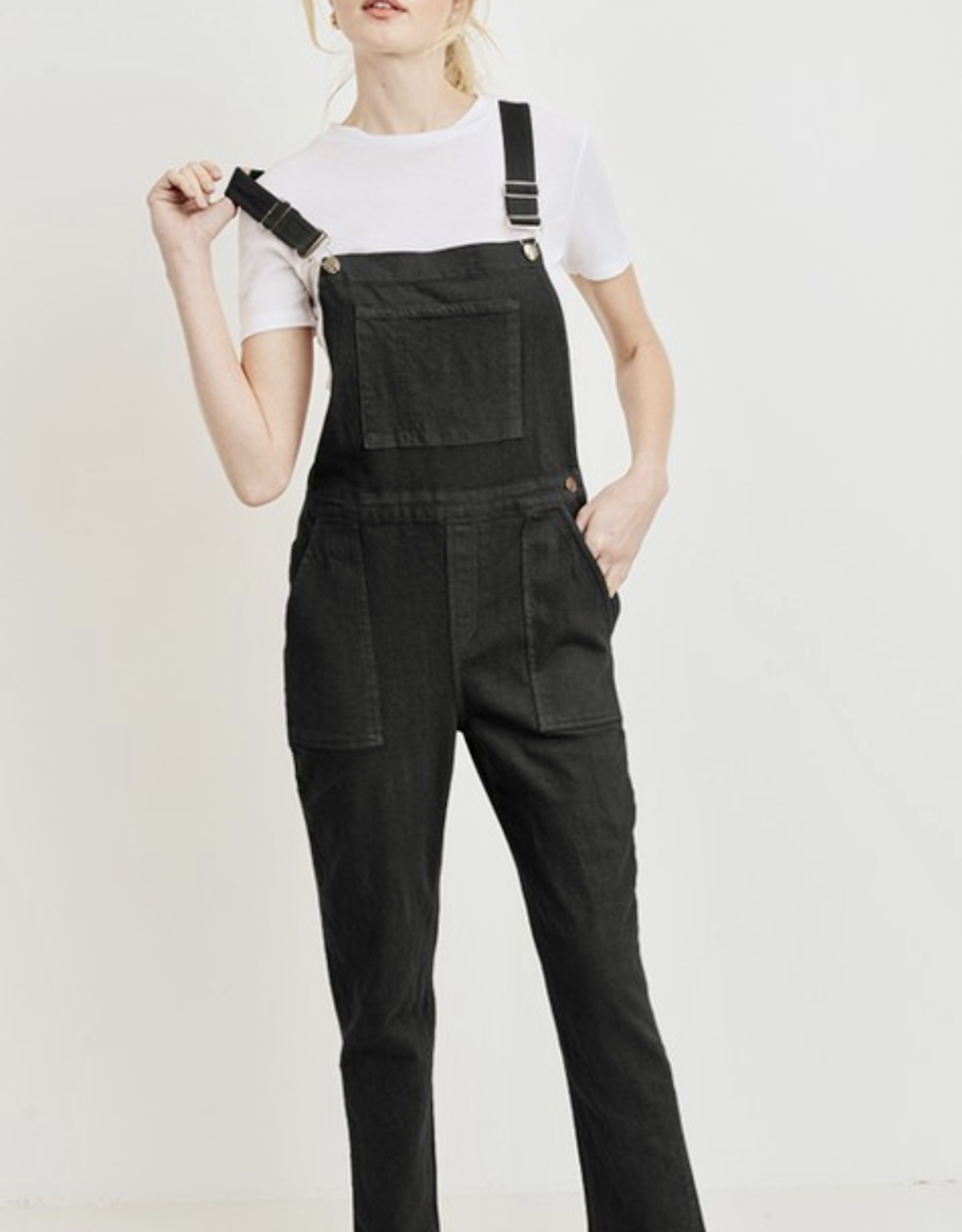 HUSH 90's style straight leg denim overalls