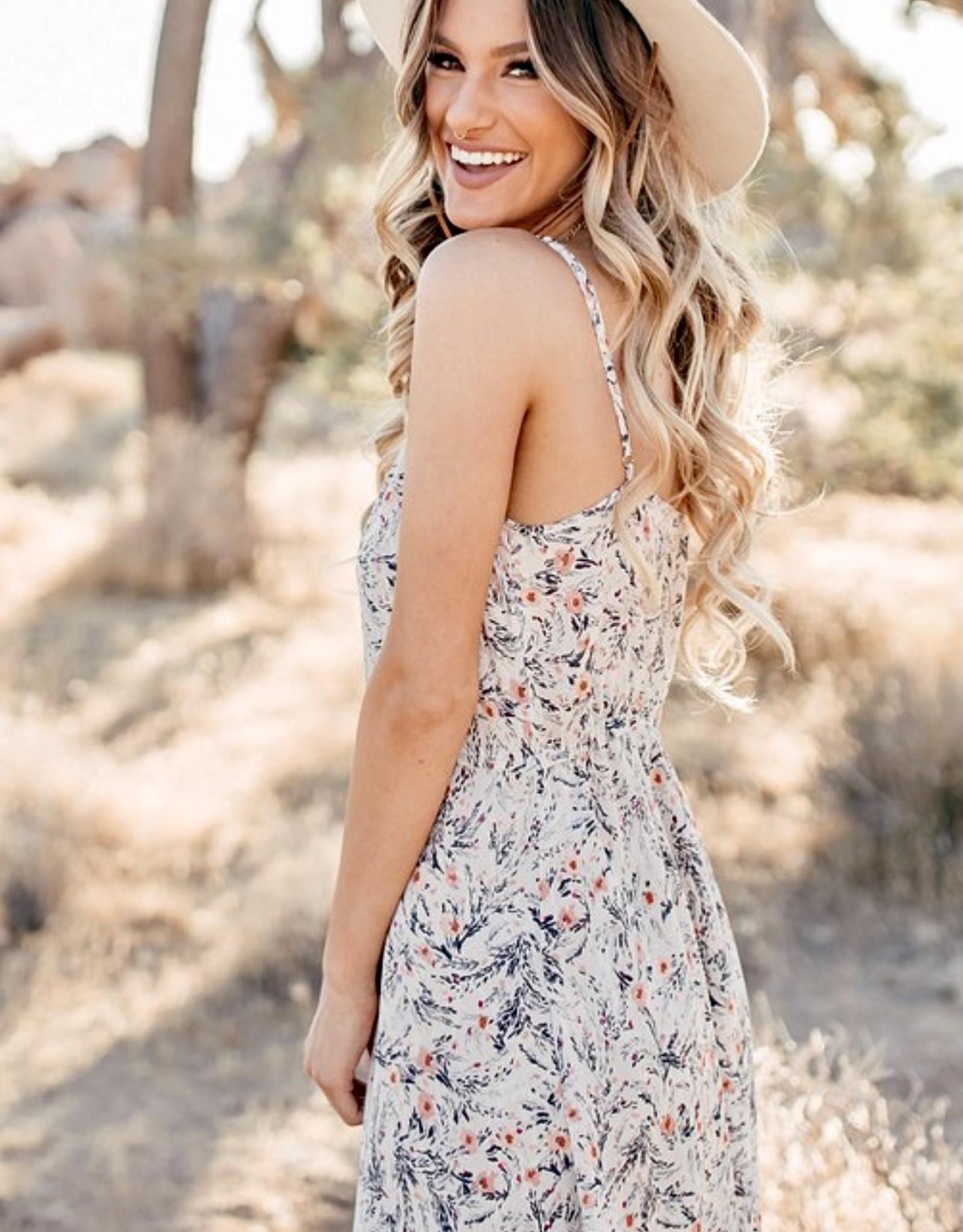 HUSH Midi length cami floral print dress