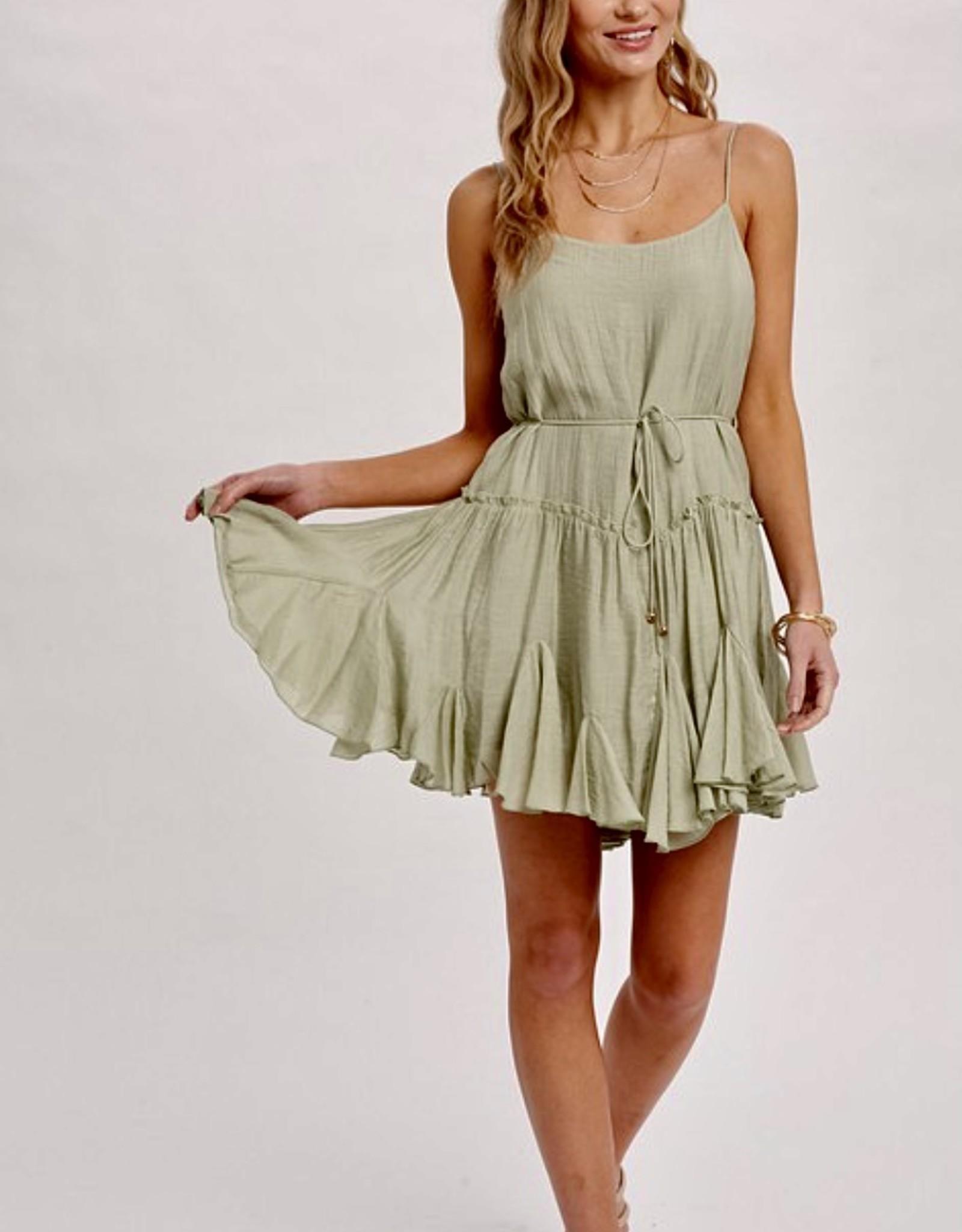HUSH Cami swing mini dress w/ waist belt