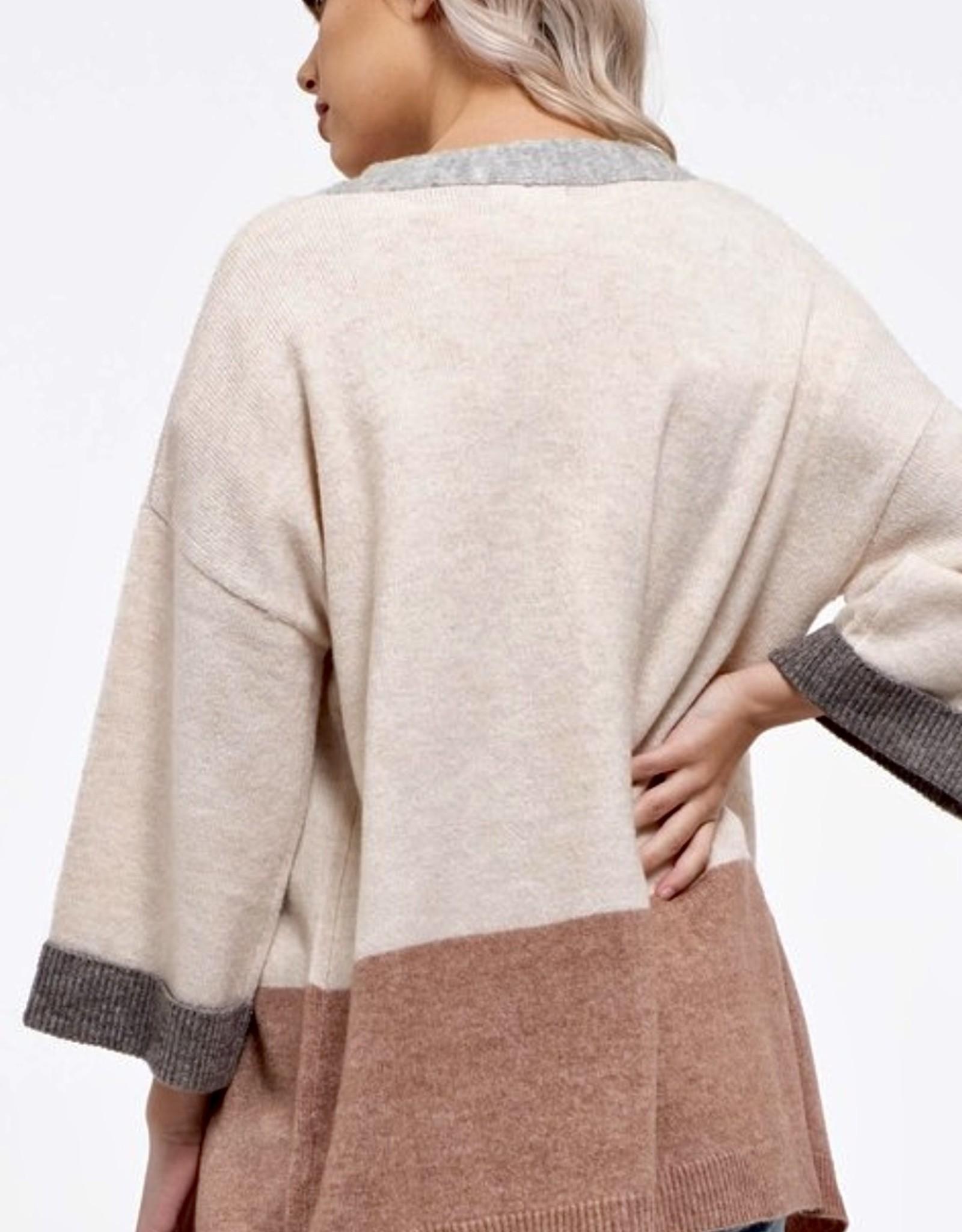 HUSH 3/4 sleeve open colour block cardigan