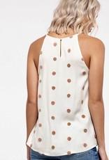 HUSH Textured swiss dot print round neck tank
