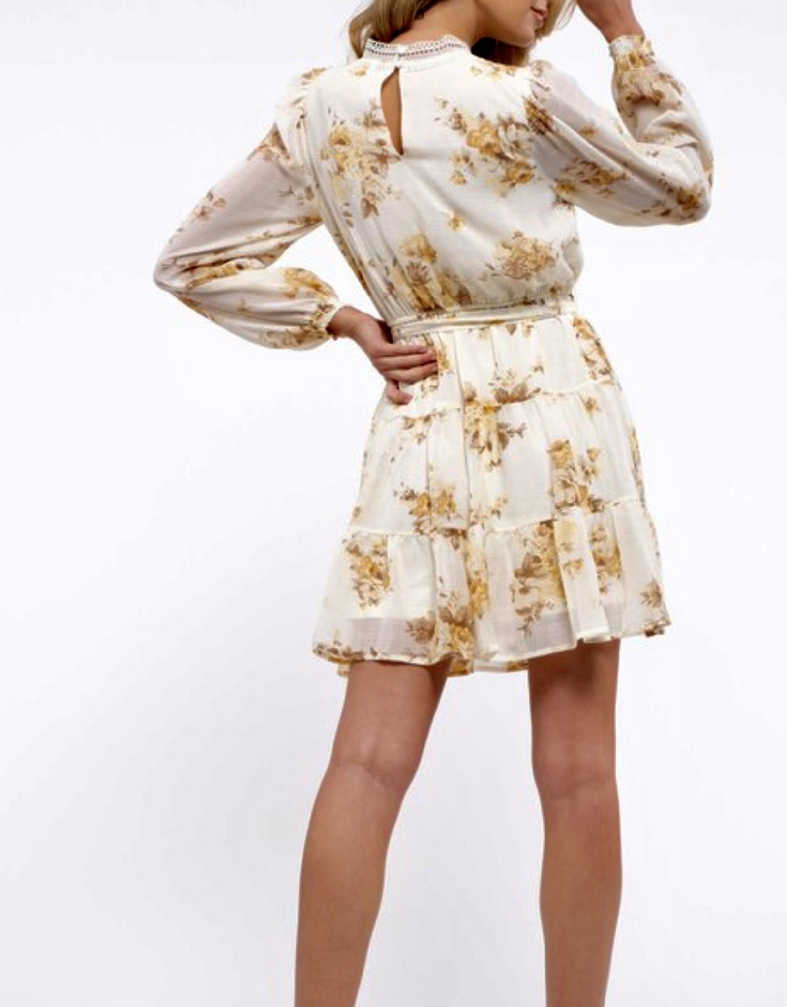 HUSH Mock neck floral print l/s dress