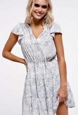 HUSH Flutter sleeve, dot print tiered dress
