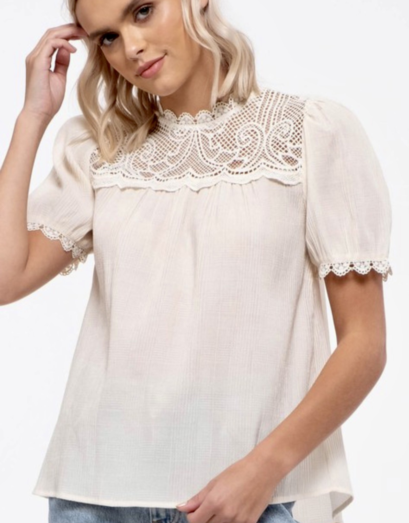 HUSH Detailed lace inset blouse w/ puff sleeves