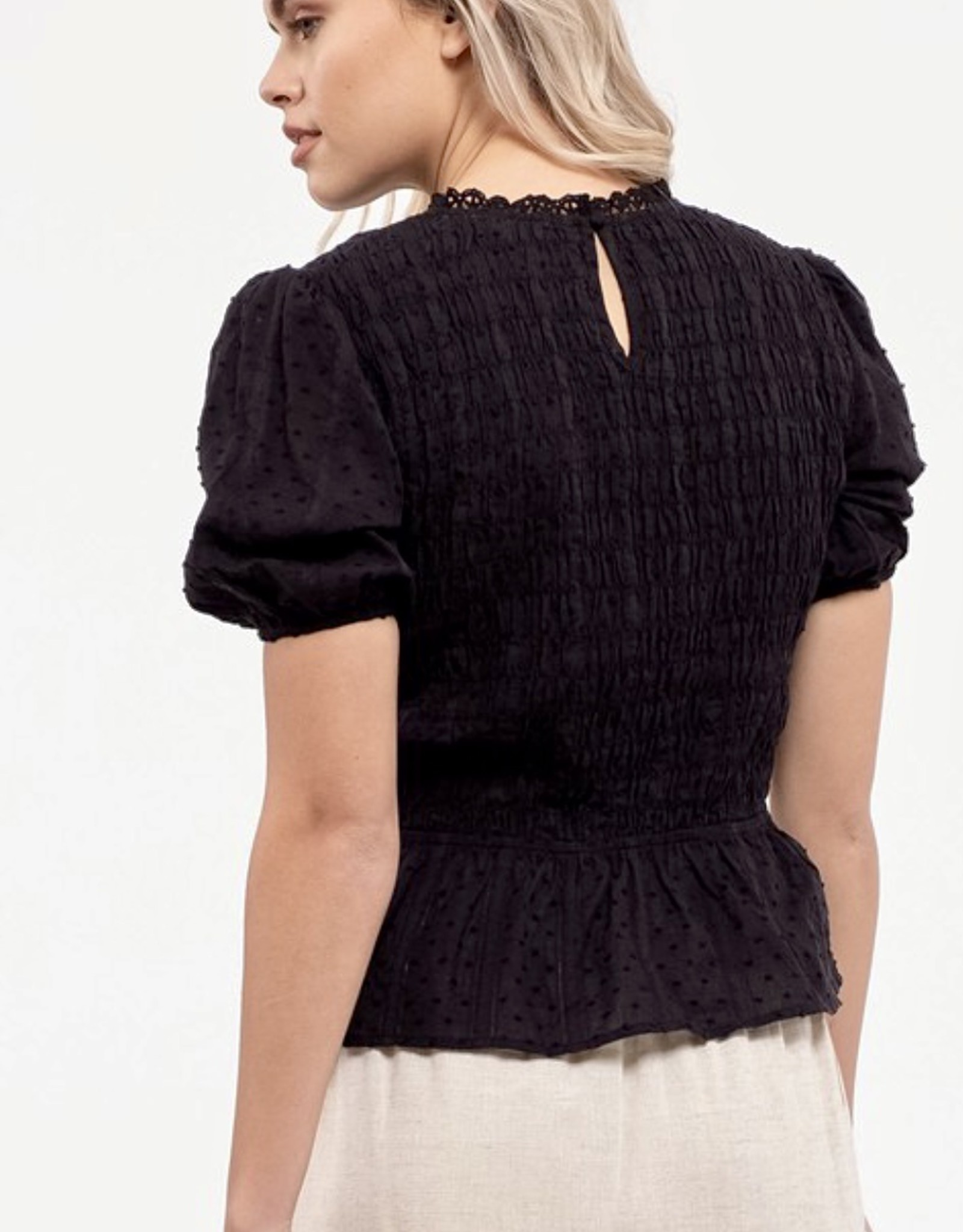 HUSH Peplum s/s smocked blouse