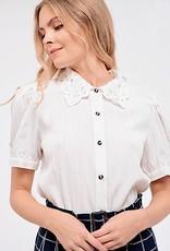HUSH Lace collar puff sleeve blouse
