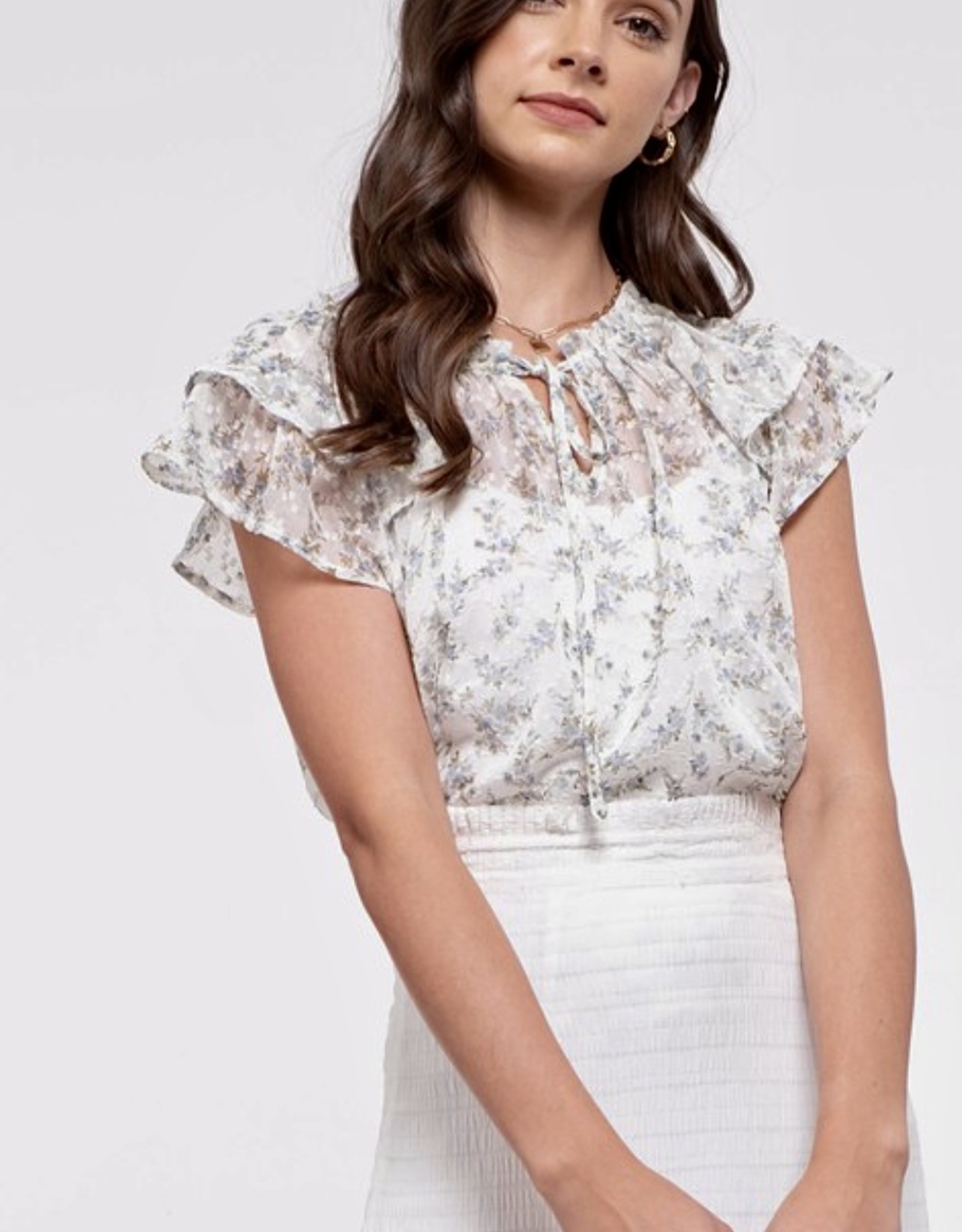 HUSH Ruffle cap sleeve floral print blouse