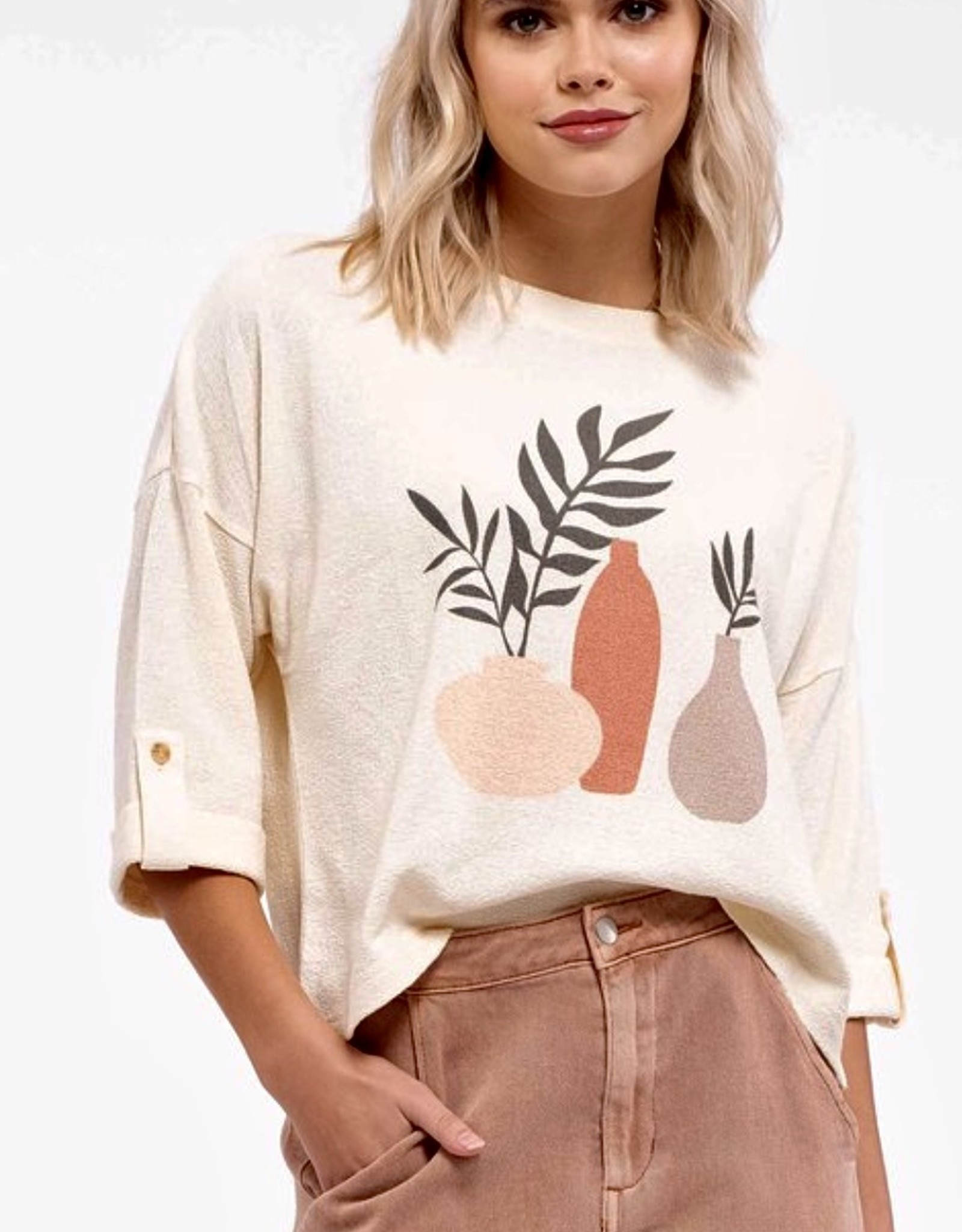 HUSH Plant print 3/4 sleeve top