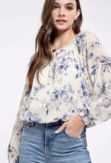 HUSH Floral print chiffon lace inset blouse