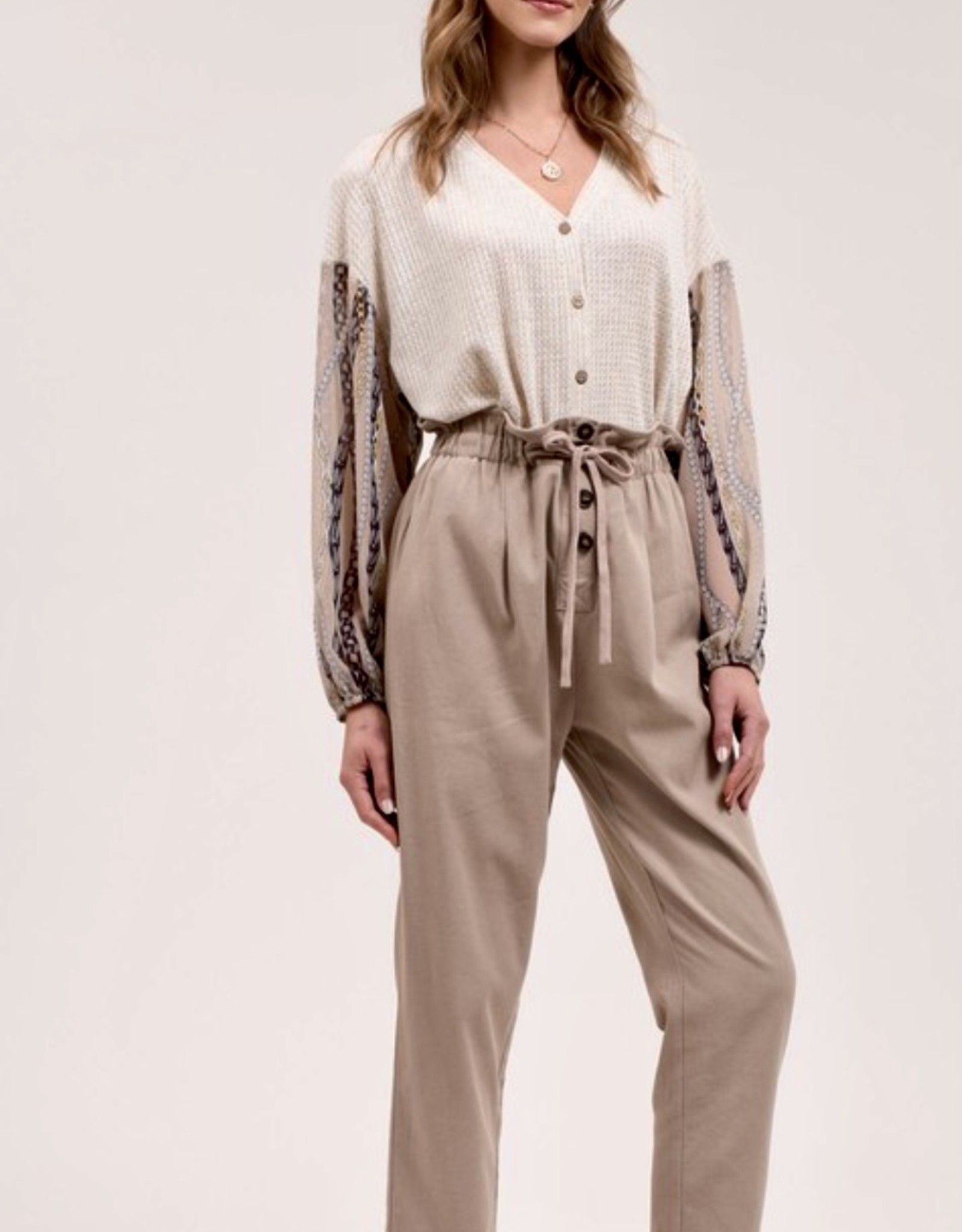 HUSH Cropped paperbag waist trousers