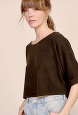 HUSH S/S boxy wave knit crop top