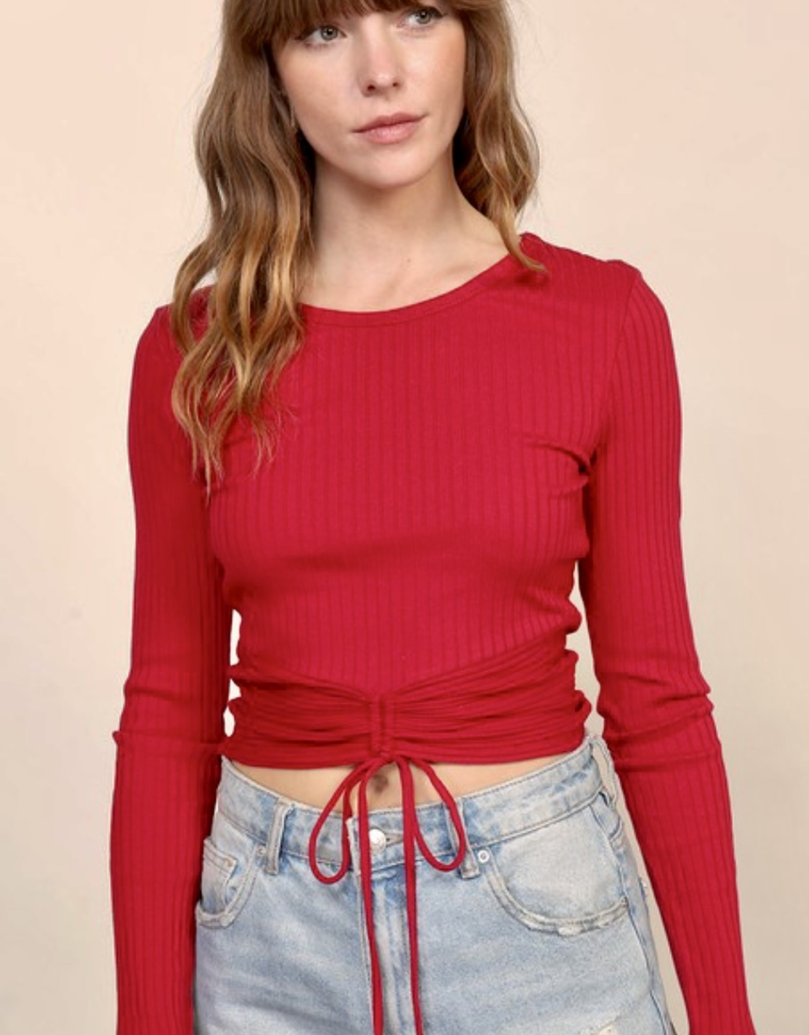 HUSH Ribbed round neck l/s top w/ ruched detail