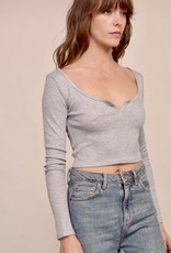 HUSH Waffle knit notched neckline l/s crop top