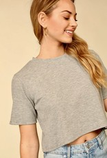 HUSH Waffle knit round neck cropped top