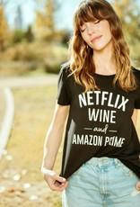 HUSH Netflix, wine & Amazon prime tee