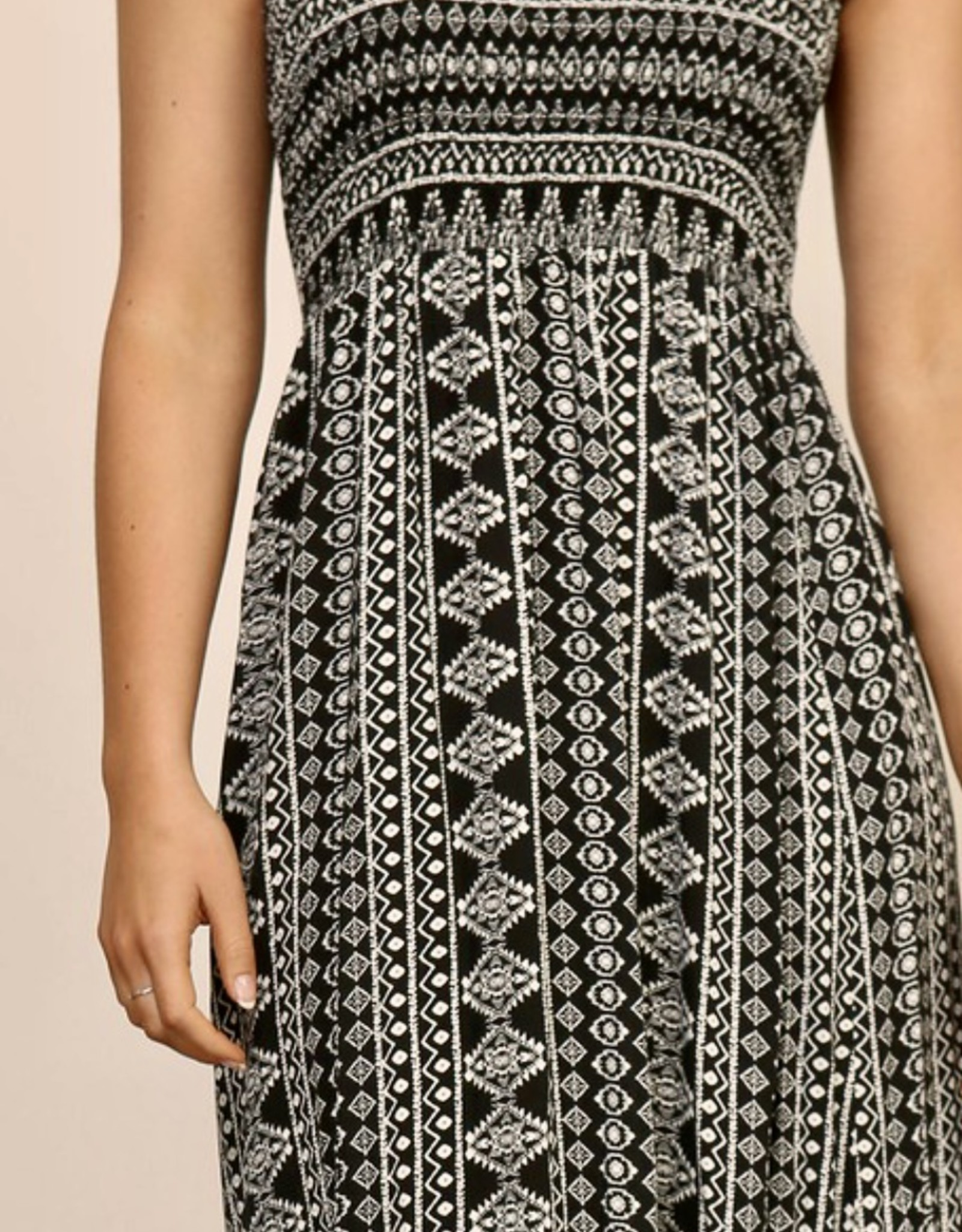 HUSH Strapless smocked bust printed maxi dress