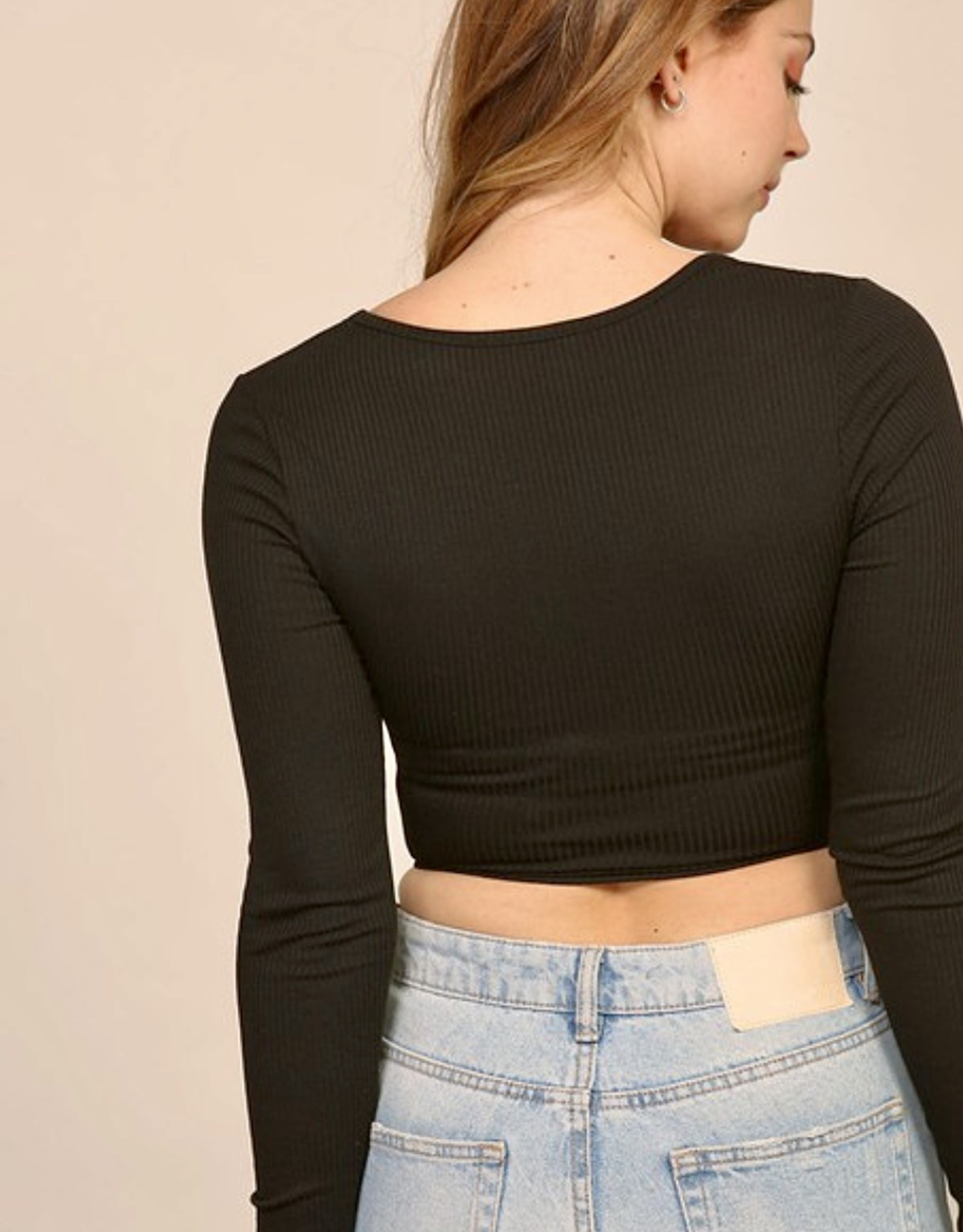 HUSH Square neck ribbed self tie l/s top