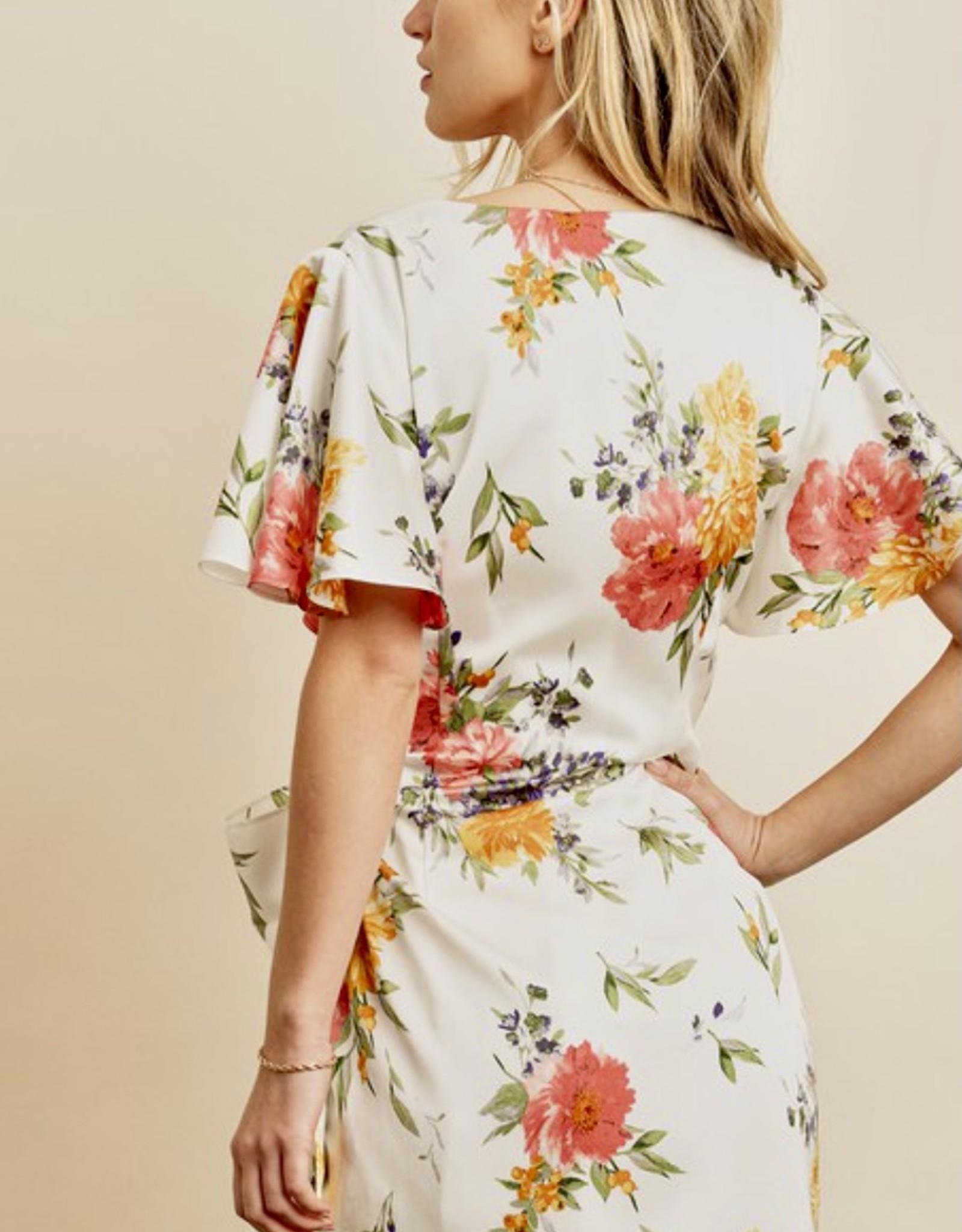 HUSH Ruffle sleeve floral print satin mini dress