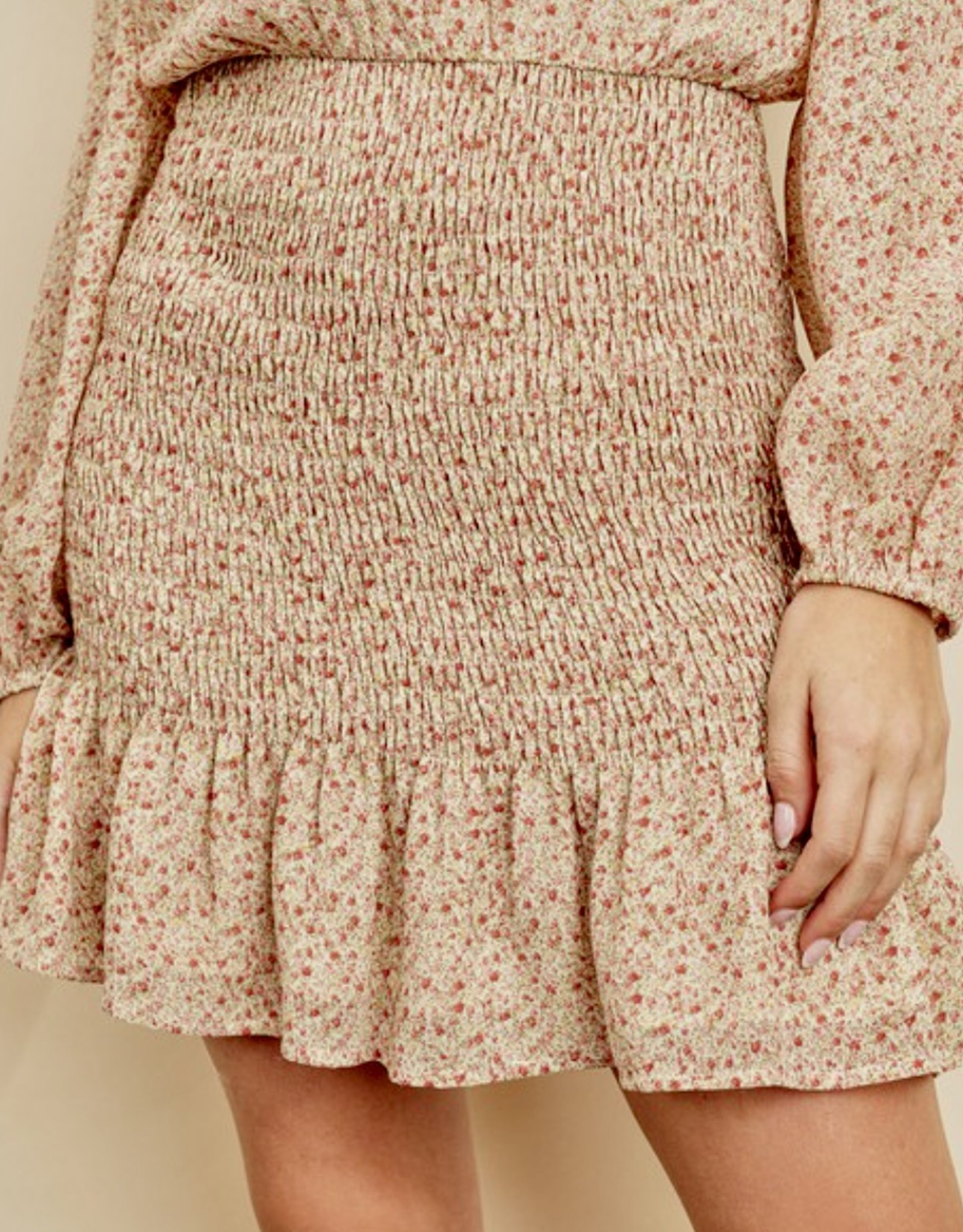 HUSH Ditsy floral print l/s smocked bottom mini dress