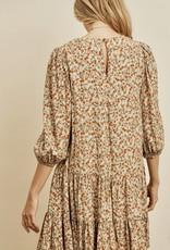 HUSH Ditsy floral print, bishop sleeve A line dress