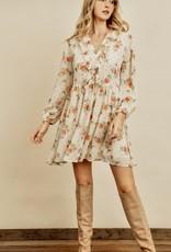 HUSH Floral print ruffle button down trapeze dress