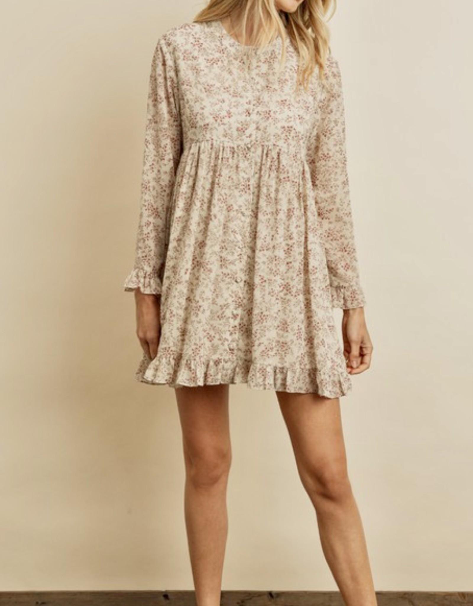 HUSH Floral print 3/4 sleeve babydoll dress