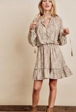 HUSH Boho print button up ruffle neckline dress