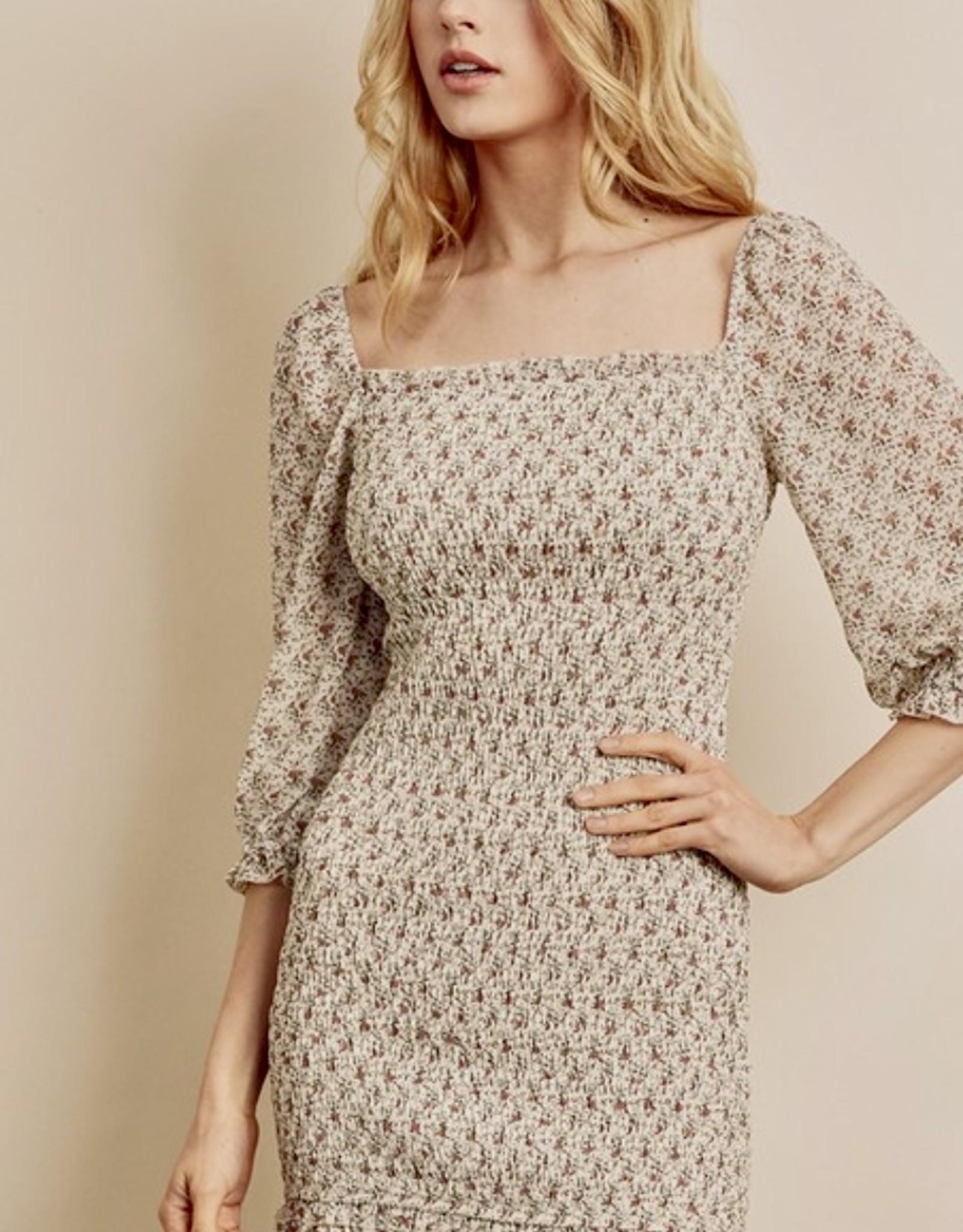 HUSH Ditsy floral print smocked body mini dress