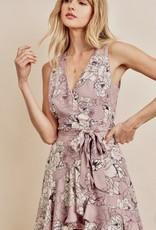 HUSH Floral print skater style dress w/ sash