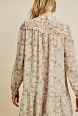 HUSH Floral print trapeze high neck dress