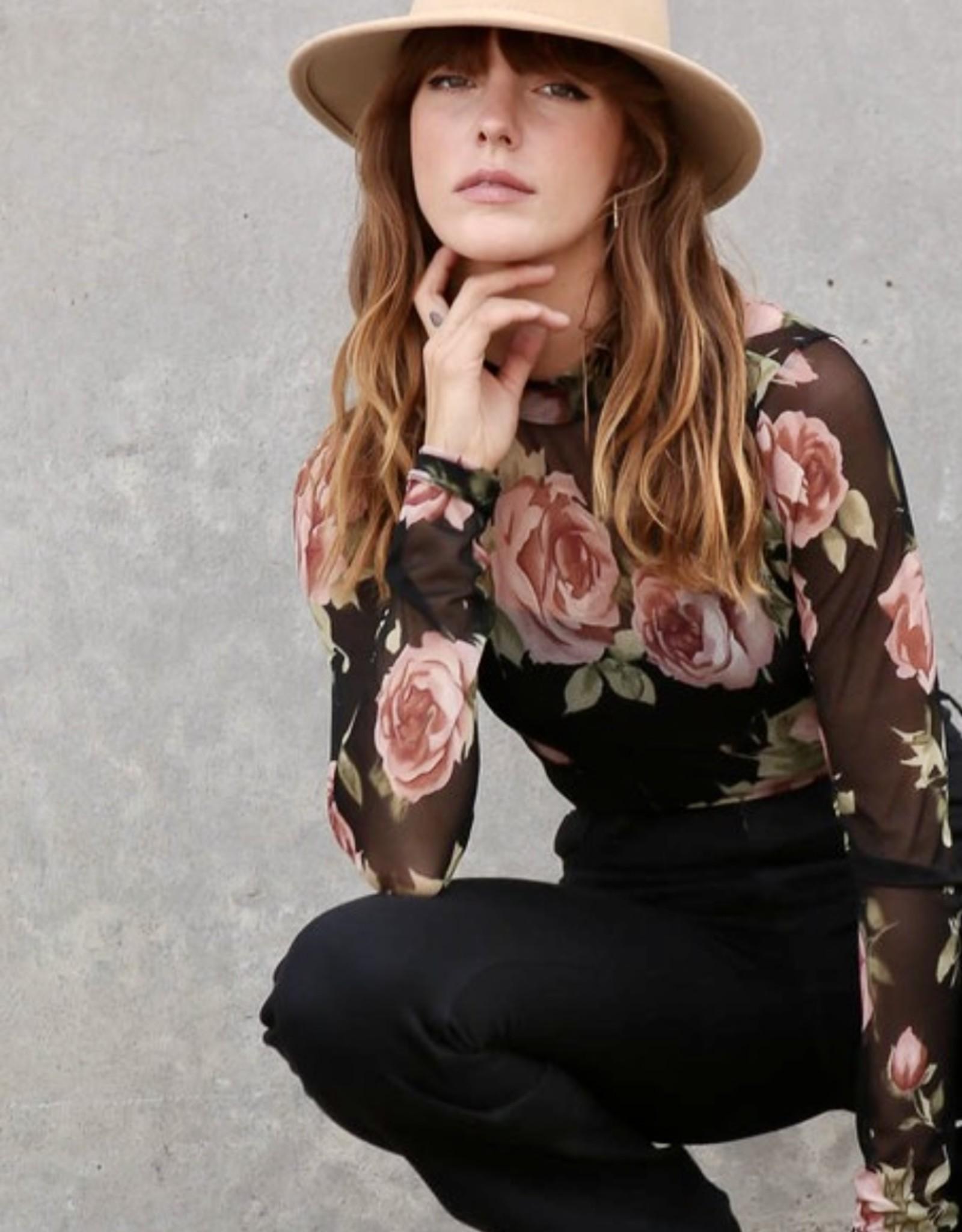 HUSH Sheer floral print bodysuit