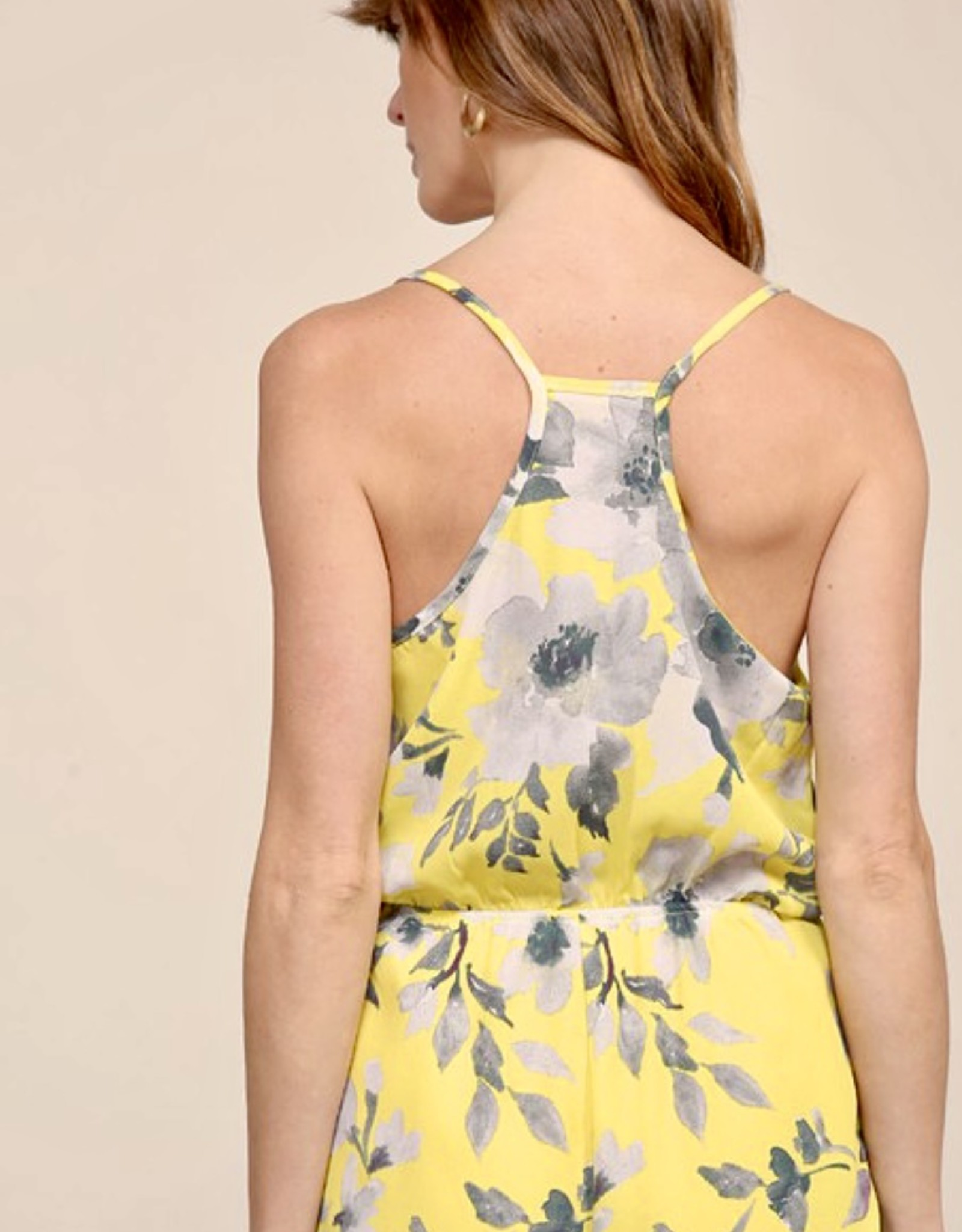 HUSH Flower print mini romper w/ elastic waist