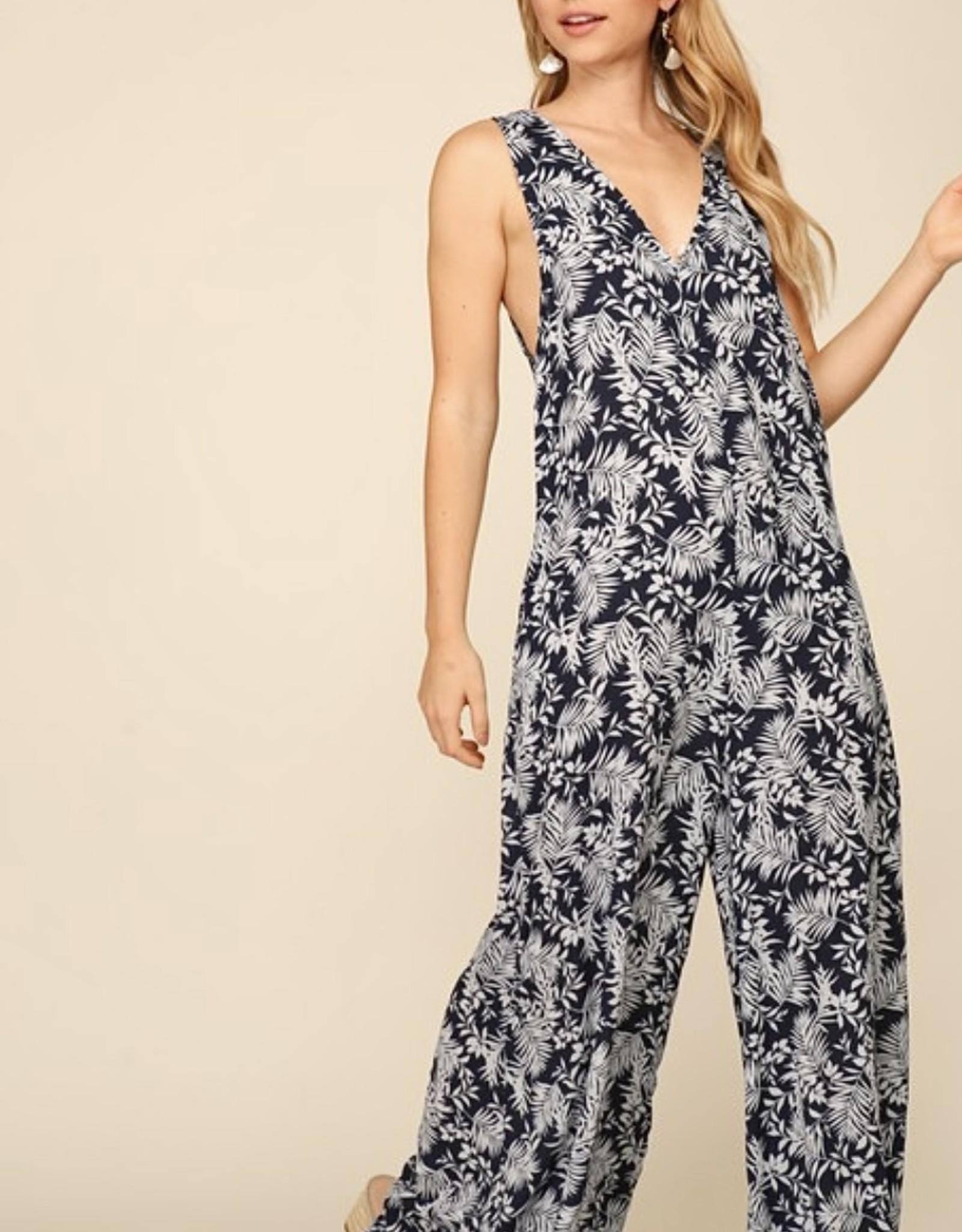 HUSH Tropical print loose fitting jumpsuit