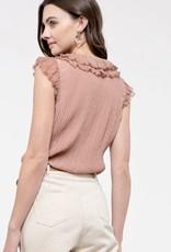 HUSH Sleeveless blouse w/ frilly collar