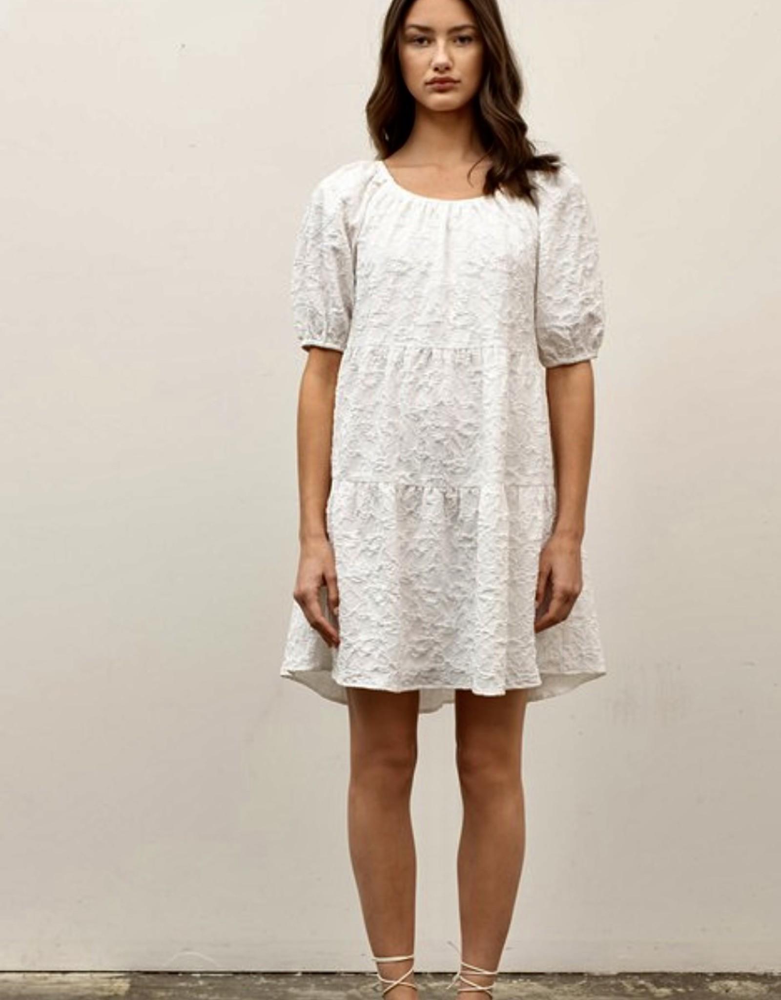 HUSH Textured puff sleeve knee length dress