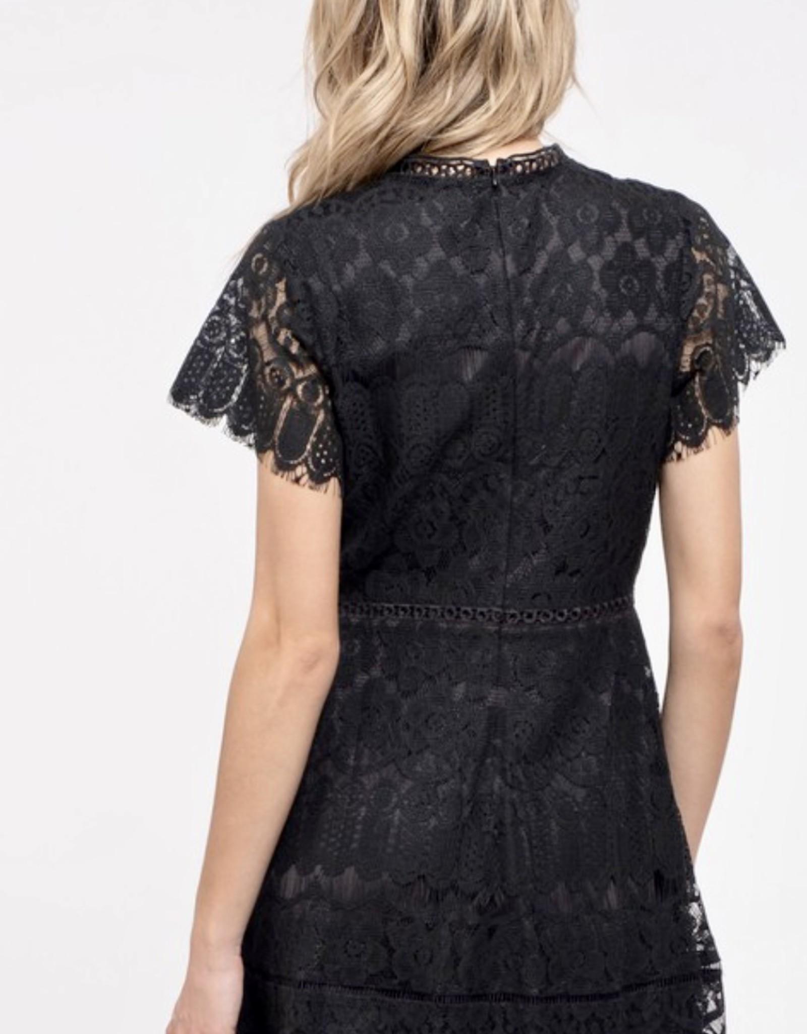 HUSH Mock neck lace mini dress
