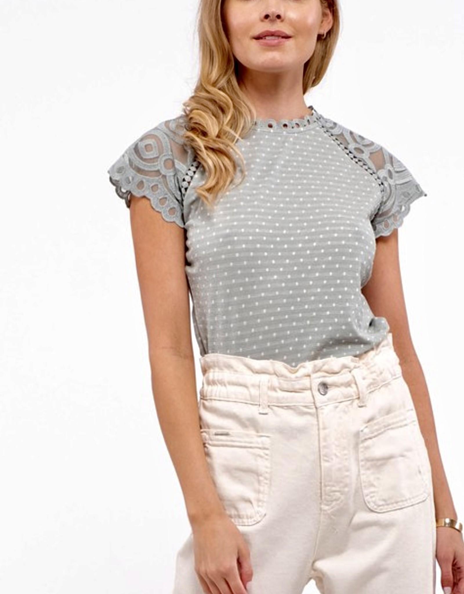 HUSH Dot print raglan lace sleeve top