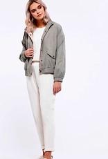 HUSH Contrast detail front zipper jacket