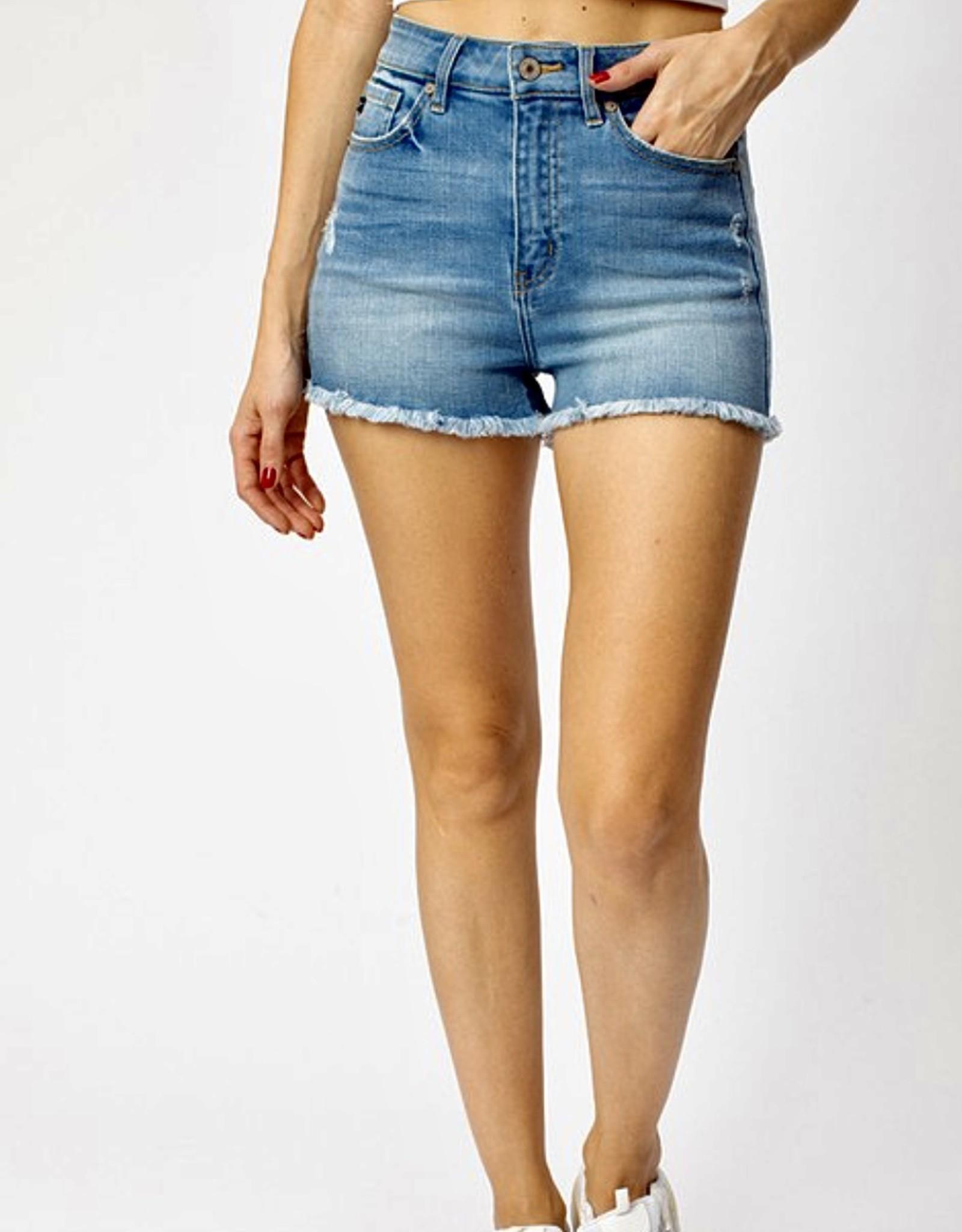 HUSH High rise frayed hem denim shorts